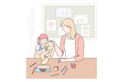 Motherhood, parenting, babysitting concept. Mother and daughter playing together, little girl with toy in playroom, mom spending time with kid, mommy and child relationship. Simple flat vector