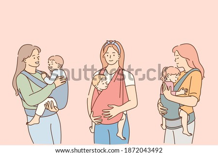 Mothers carrying their kids in slings lifestyle concept. Positive young women mothers carrying their reborn children in cotton sling, babies feeling love and protection from mother vector illustration