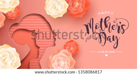 Mothers Day card illustration in papercut style for best mom. Paper cutout mother with child and realistic pink flowers.