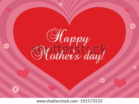 Mothers day card with heart and abstract background