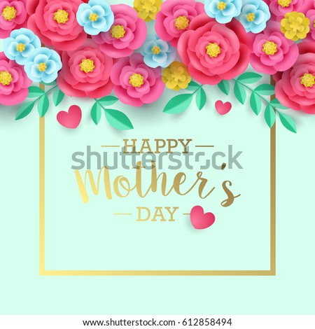 Mothers day greeting card design with abstract paper flower background