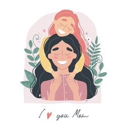 Mothers Day greeting card. I love you Mom. Girl hugs mom. Vector illusrtration on white backgraund