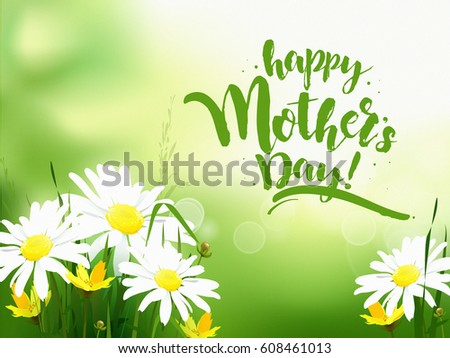 Mothers day greeting card with daisy