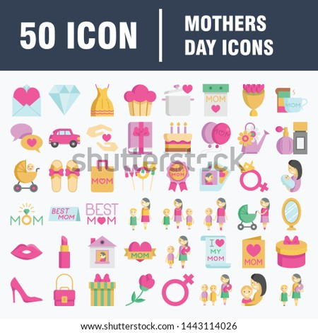 Mothers Day Icon Design Concept. Present And Stroller. Beautiful Symbols For Headgear, Bottle And Present. #1443114026