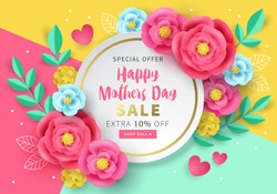 Mothers day sale banner template for social media advertising, invitation or poster design with paper art flowers background. Vector illustration