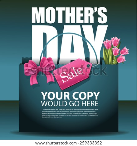 Mothers Day sale shopping bag background EPS 10 vector royalty free stock illustration for greeting card, ad, promotion, poster, flier, blog, article, social media, marketing