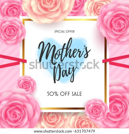 Mothers Day Sale with beautiful flower for Greeting card, Banners,Flyers,  Posters, Brochure,Invitation and Voucher Discount.Vector illustration of 50% Discount Banner for your promotion event #631707479