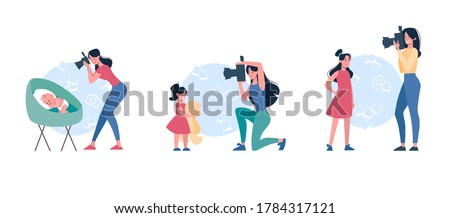 Mothers take pictures of children. A set of women who shoot at the camera of how their growing up daughters: a baby, a girl with a teddy bear and a teenager, photo. Vector, flat minimal, isolated. Stockfoto ©