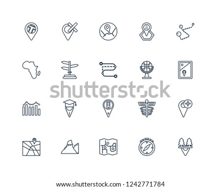 Motion, College Pin, Touristic map, Terrain, Add to Map, National Park Gift shop Location, Building Demographics, , Forbidden outline vector icons from 20 set