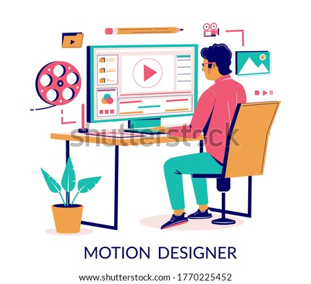 Motion designer animator working on computer creating animated video while sitting at desk, vector flat isometric illustration. Motion graphic studio services concept for web banner, website page etc.