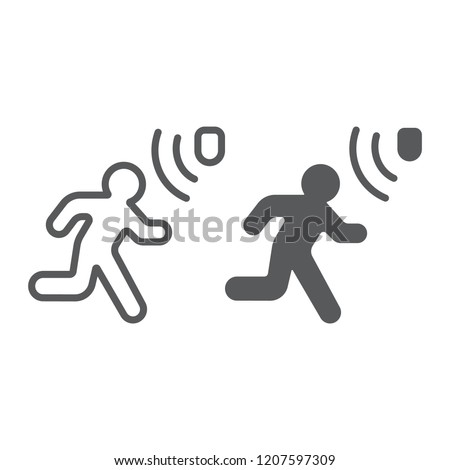 Motion detection line and glyph icon, security and detector, walking man sign, vector graphics, a linear pattern on a white background, eps 10.