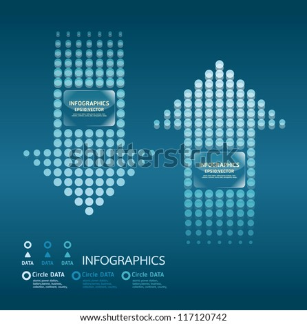 motion dots arrows blue color / can be used for infographics / numbered banners / graphic or website layout vector