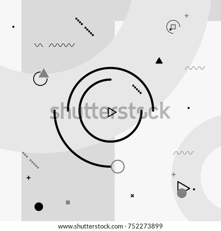 Motion graphics elements. Black and white composition. Vector illustration background. Geometric figures