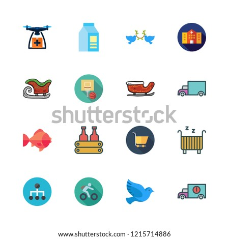 motion icon set. vector set about pigeons, milk, carts and hospital icons set.