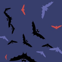 Motion Night Sky Chaos Halloween Modern Design. Creepy Red Eyes Gothic Colorful Bats Vector Illustration. Retro Spooky Attack Pink Background. Black Purple Scary Print Flying Bats Art Pattern.