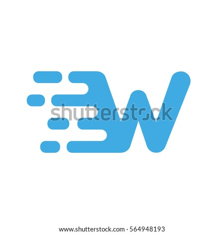 Motion speed line letter W logo design for it, delivery, transportation company, etc. Dynamic vector unusual font.
