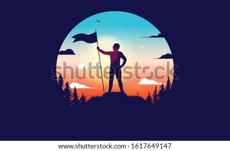 Motivated winner - Man on mountain top with raised flag. Standing proud and planting a flag on hill top, Reached  personal goals, victory concept. Flat circular vector illustration.