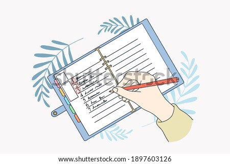 Motivation and aiming for new life concept. Human hands making list of resolutions for starting new life writing in planner and making notes vector illustration, top view