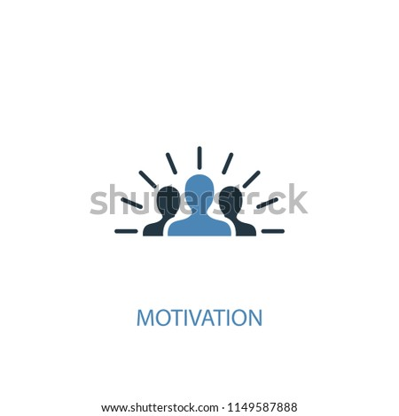 Motivation concept 2 colored icon. Simple blue element illustration. Motivation concept symbol design from startup set. Can be used for web and mobile UI/UX