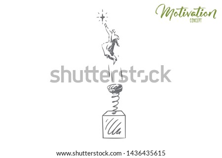 Motivation concept sketch. Reach for stars, muslim man jumping on spring. Achieving goals in life metaphor. Flying to your dreams. Personal success achievement. Isolated vector illustration