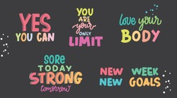 Motivation phrases,  love your body, yes you can, new goals, you are your only limit, sport quotes,  motivational posters