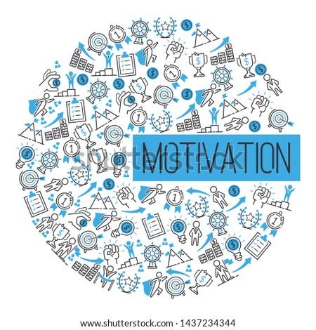 Motivation success motivate concept pattern vector illustration. Creative idea inspiration strong power. Metaphor determination strategy. Motivational opportunity achievement.