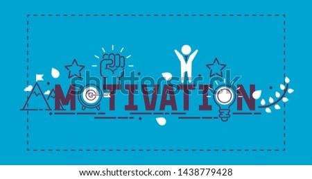 Motivation success motivate concept vector illustration. Creative idea inspiration strong power. Metaphor determination strategy. Motivational opportunity achievement poster.