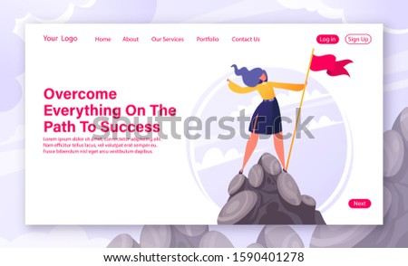 Motivational concept for website landing page, web page. Flat cartoon business woman character hoisted flag on mountain top. Concept and metaphor of success in business, leadership, achievement of goa