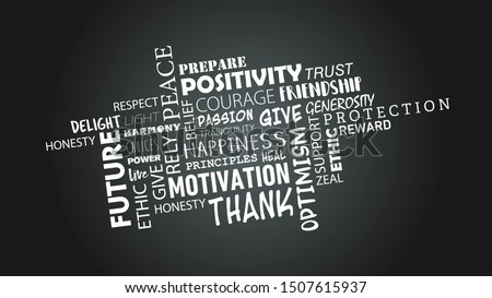 MOTIVATIONAL POSITIVE WORD CLOUD OVER GREY BACKGROUND