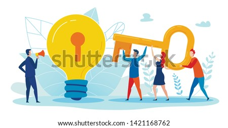 Motivational Poster Selection Key to Idea Flat. Professional Banner Commander Commands into Loudspeaker how to Open Key. Flyer Employees Jointly Raise Key to Reach Well. Vector Illustration.