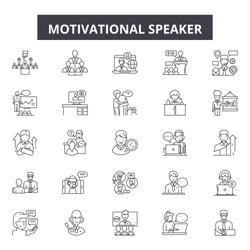 Motivational speaker line icons, signs set, vector. Motivational speaker outline concept, illustration: speaker,business,motivation,speech,communication,leadership,meeting