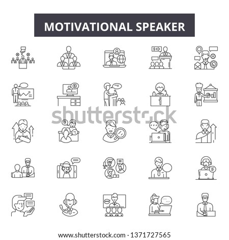 Motivational speaker line icons, signs set, vector. Motivational speaker outline concept, illustration: speaker,business,motivation,speech,communication,leadership,meeting #1371727565