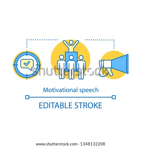Motivational speech concept icon. Protest, meeting action idea thin line illustration. Leadership skills. Public speaking. Political leader. Orator, speaker. Vector isolated drawing. Editable stroke