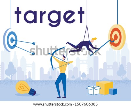 Motivator Achieving and Planning Company Target. Businessman Hanging on Ropes Paints Aim and Worker Shoots from Bow at Dartboard. Thinking Out of Box. Cartoon Business Poster. Vector Flat Illustration