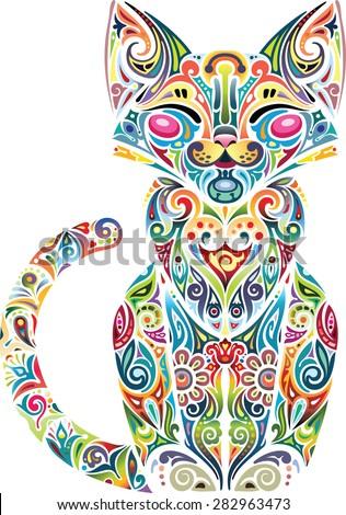 motley cat  light