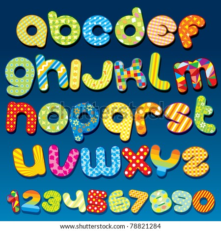 Motley Colorful vector Cartoon  font - letter from A to Z, clip art for your design or text