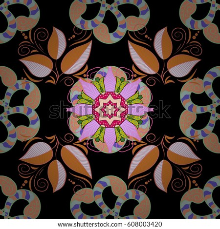 Motley seamless pattern. Vector abstract flower background. Pretty floral print with colorful small flowers. #608003420
