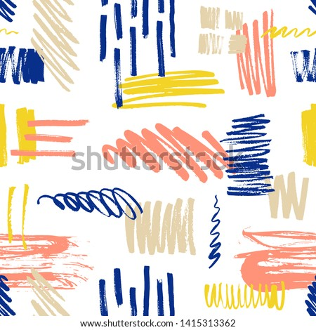 Motley seamless pattern with scribble and paint splotches or smudges on white background. Vibrant backdrop with colorful daub. Creative vector illustration in modern style for fabric print, wallpaper.
