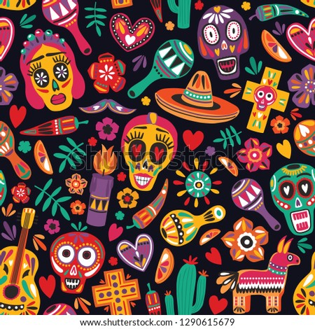 Motley seamless pattern with traditional Mexican Dia de los Muertos decorations on black background. Holiday backdrop. Festive flat cartoon vector illustration for wrapping paper, fabric print.