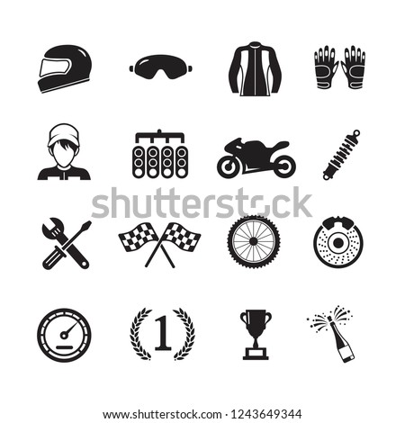Moto racing icons, Vector Illustration