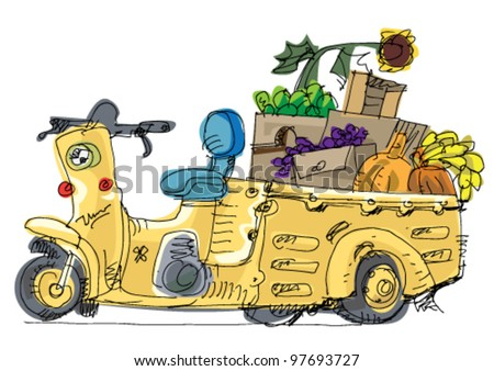 moto rickshaw   cartoon