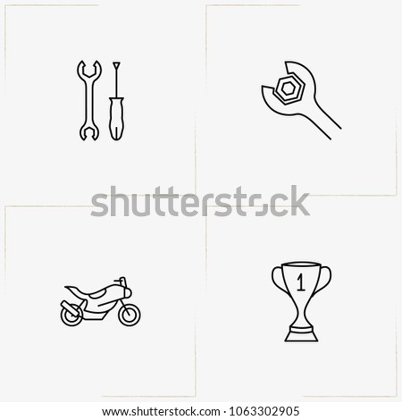 Moto Sport line icon set with tools, motor bike  and trophy