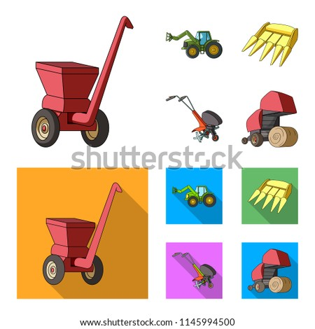 Motoblock and other agricultural devices. Agricultural machinery set collection icons in cartoon,flat style vector symbol stock illustration web. #1145994500