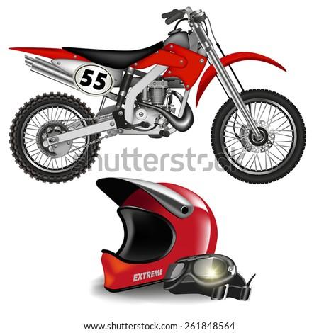 Motocross bike silhouette with helmet isolated on white. Vector illustration