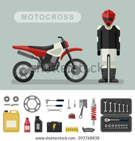 motocross bike with parts in