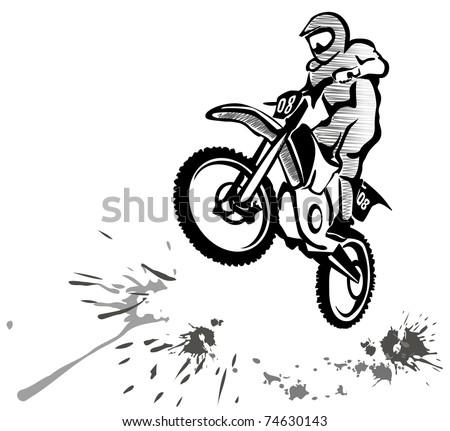 motocross hand drawn illustration in grunge style