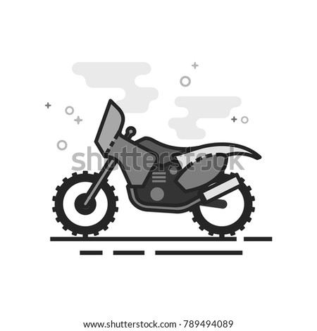 motocross icon in flat outlined