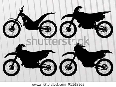 Motocross motorcycle illustration collection background vector