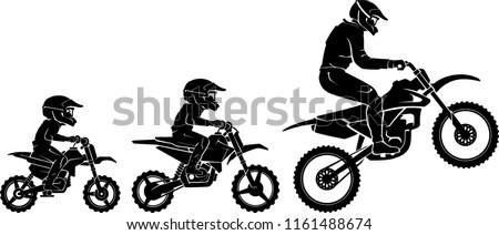 Motocross Race Evolution, Side View Silhouette Stock photo ©