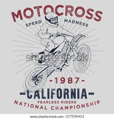 motocross typography  t shirt
